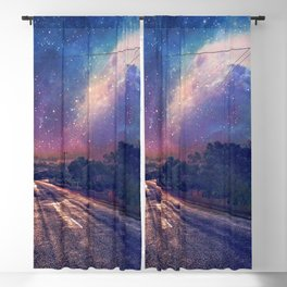 Marvellous Starry Night Sky Over Idyllic Empty Country Road Anime Scenery Ultra High Definition Blackout Curtain