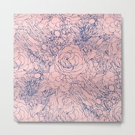 Stylish Metallic Navy Blue and Pink Floral Design Metal Print