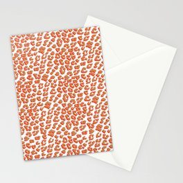 Orange Red Leopard Print Stationery Cards