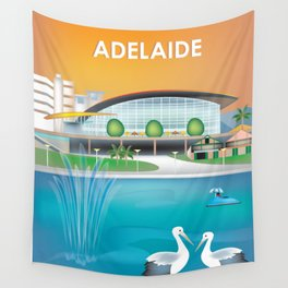 Adelaide, Australia - Skyline Illustration by Loose Petals Wall Tapestry