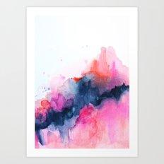 Abstract watercolor Orange Pink Art Print