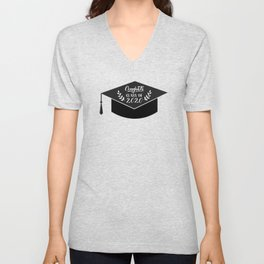 Congrats Class of 2020 hand written on graduation hat. Congratulations to graduates Unisex V-Neck