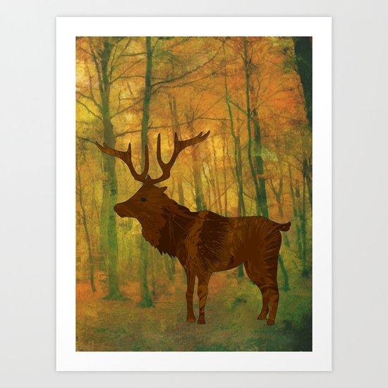 Deer in autumn Art Print