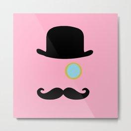 Mustache Monocle Top Hat Pink Metal Print