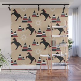 American Indians style pattern with black horse jumping in the mountains Wall Mural