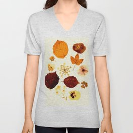 Pressed flowers and leaves Unisex V-Neck