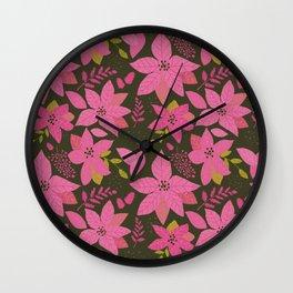 MicMick's Serene Poinsettia Dark Pink Wall Clock