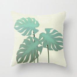 Tropical Monstera Watercolor Throw Pillow