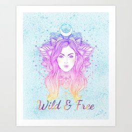Wild and Free Boho Woman - Moon Goddess Art Print