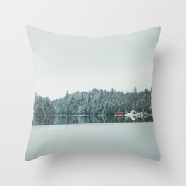 Frozen Lake in Canada Throw Pillow