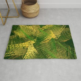 Green and gold abstract Rug