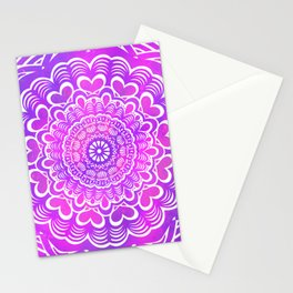 Heart Pattern Mandala - Detailed Ethnic Textured Painted Mandalas (Magenta, Pink, Purple) Stationery Cards