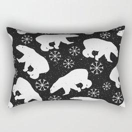 Polar Bears and Snowflakes - black Rectangular Pillow