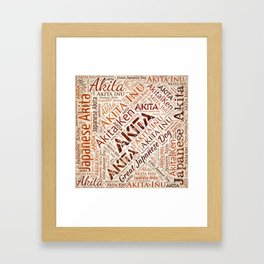Akita dog Word Art Framed Art Print