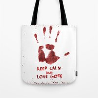 gore Tote Bags featuring Love Gore by Victor Rodriguez
