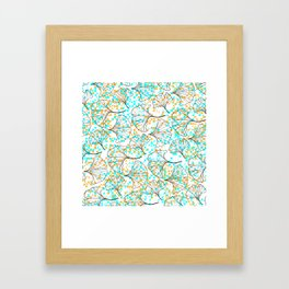 grid in yellow and blue and petals Framed Art Print
