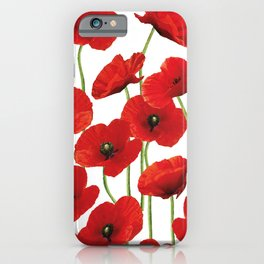 Poppies Flowers red field white background pattern iPhone Case