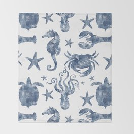 Delft Blue nautical Marine Life pattern, coastal beach Throw Blanket