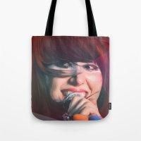 karen Tote Bags featuring Karen O by Camila Fernandez