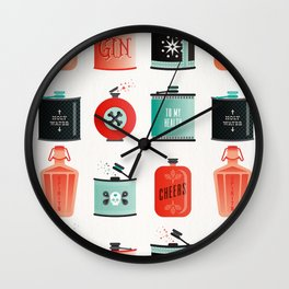 Flask Collection – Red & Turquoise Palette Wall Clock