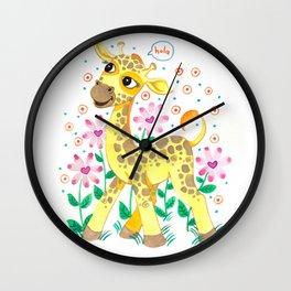 Giraffe Nursery Illustration Wall Clock