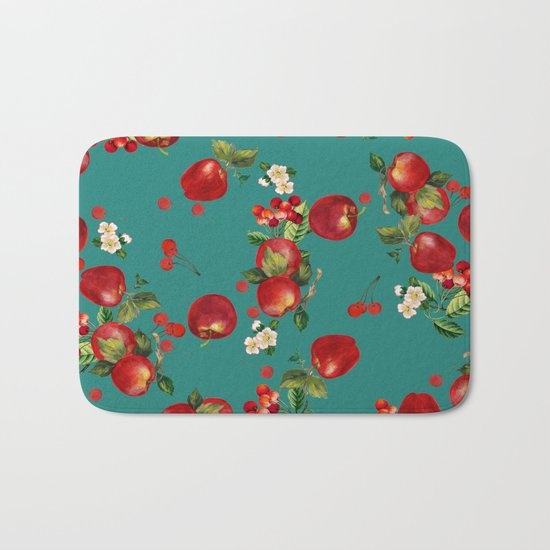 cherries and apples Bath Mat