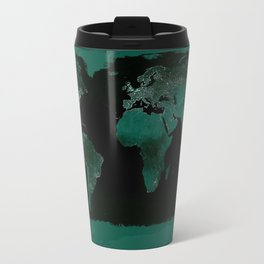 World Map : Green Travel Mug