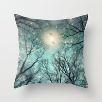 fault Throw Pillows featuring Nature Blazes Before Your Eyes (Mint Embers) by soaring anchor designs