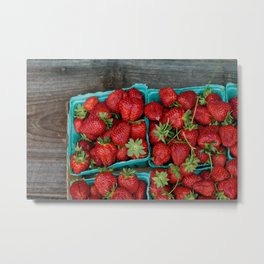 Macro Strawberries Metal Print