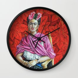 Frida Kahlo with Poinsettias Wall Clock