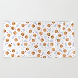 Happy Milk and Cookies Pattern Beach Towel