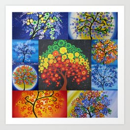 beautiful bright tree design designs artwork black green red yellow tree of life trees Art Print