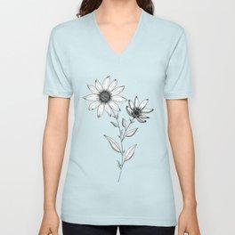Wildflower line drawing | Botanical Art Unisex V-Neck