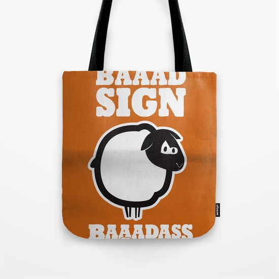 Baaadass the Sheep: Born Under a Baaad Sign Tote Bag