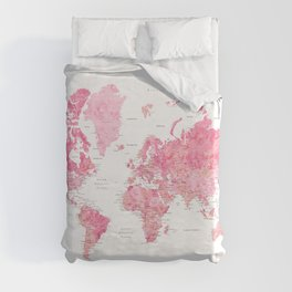 Pink detailed watercolor world map with cities Azalea Duvet Cover