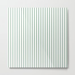 Moss Green Green Pin Stripe on White Metal Print