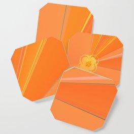 Abstract Golden Sun Flower Coaster