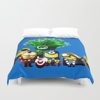 avenger Duvet Covers featuring Avenger-mini ons mashup by BURPdesigns