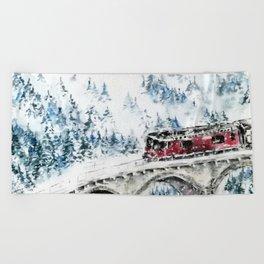 Winter Travel Beach Towel