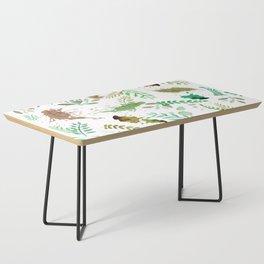 Green Leaves, Paint Splatter, Pattern Coffee Table