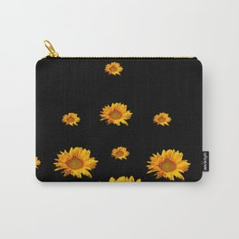 RAINING GOLDEN YELLOW SUNFLOWERS BLACK COLOR Carry-All Pouch