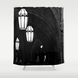 Church Arches and Lanterns Photograph by Larry Simpson Shower Curtain