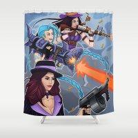 league Shower Curtains featuring League of Legends Gunners by Arnix