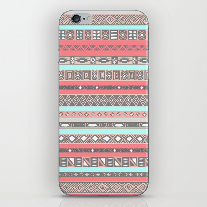 Peach Rose Baby Blue Aztec Tribal Native Pattern iPhone Skin