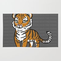 tigers Area & Throw Rugs featuring TIGERs by hoshi-kou