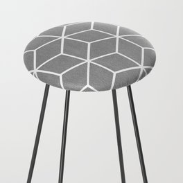 Light Grey and White - Geometric Textured Cube Design Counter Stool