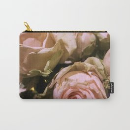 Shabby Chic Soft Peach-Pink Roses Carry-All Pouch