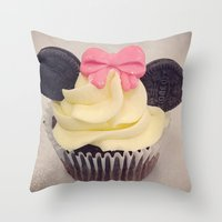 minnie mouse Throw Pillows featuring Minnie Mouse Cupcake by Loulabelle