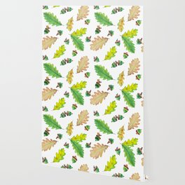 Foliage watercolor pattern oak leaves and acorns Wallpaper