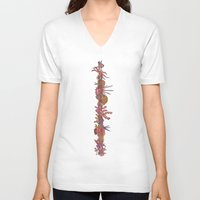 coral V-neck T-shirts featuring Coral by Joey Wall